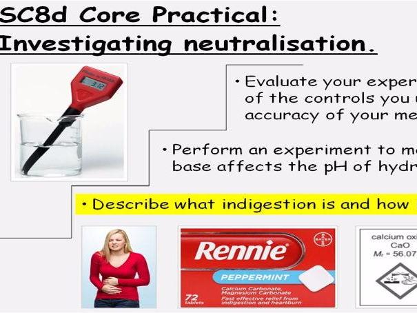 GCSE Chemistry Investigating Neutralisation Core Practical Lesson Powerpoint (Edexcel 9-1 SC8d CC8d)