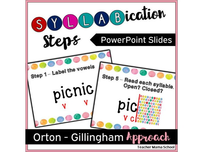 Steps for Syllabication (Orthon-Gillingham) - PowerPoint