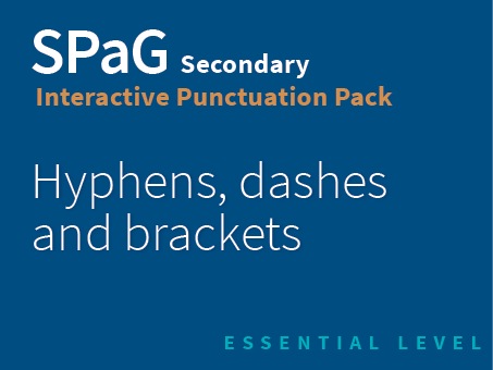 SPaG Secondary Interactive Punctuation Pack - Hyphens, dashes and brackets (Essential Level)