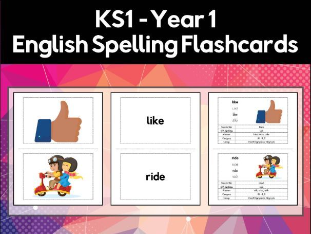 Key Stage 1 Year 1 English Spelling & Phonics Flashcards