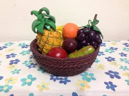 Clay fruit and bowl