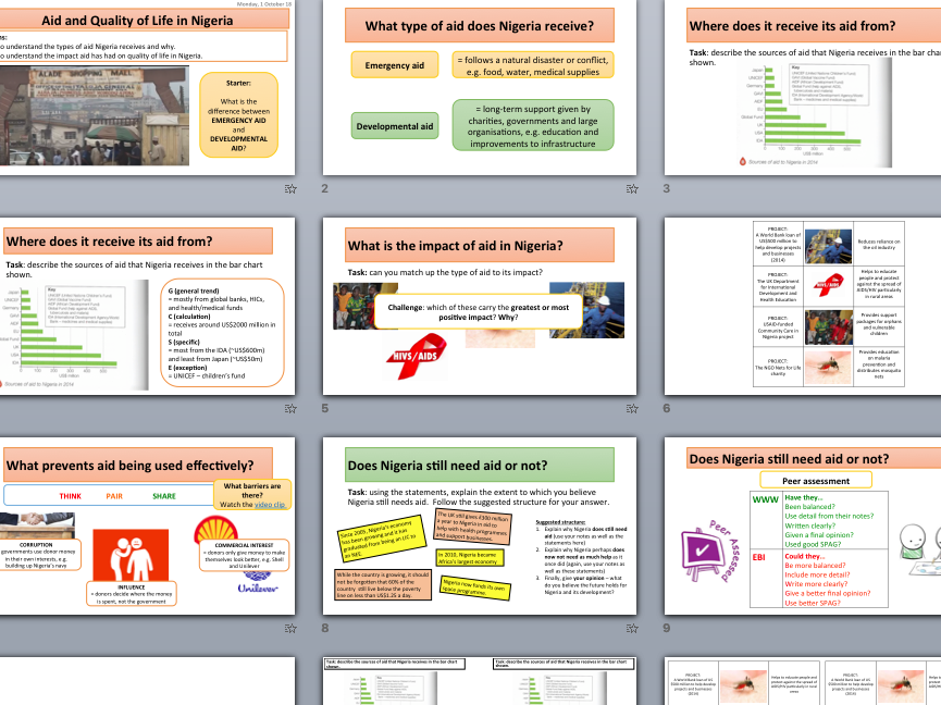 AQA The Changing Economic World (Nigeria & The UK) - 20 lessons with resources & answer sheets