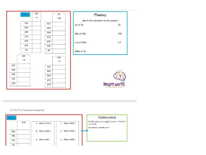 Finding Percentage of amounts sequenced worksheets