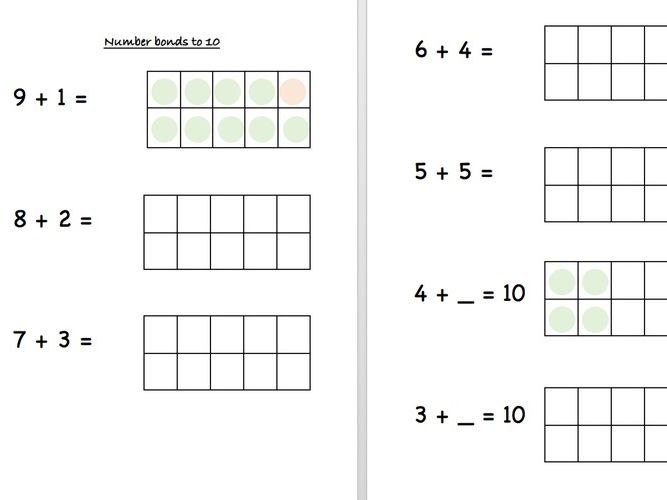 number bonds to 10 with 10 frame worksheet