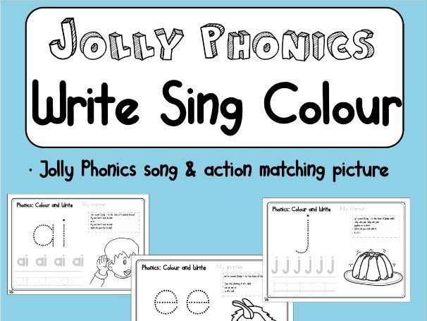 Jolly Phonics - Write and Colour each sound - Song & matching picture | All Jolly Phonics Sounds