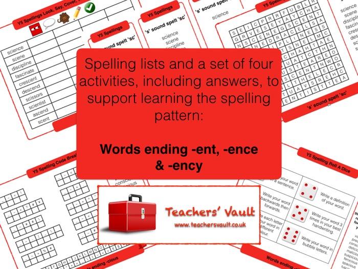 Y5 Spelling Activities Pack - Words ending -ence, -ent & -ency