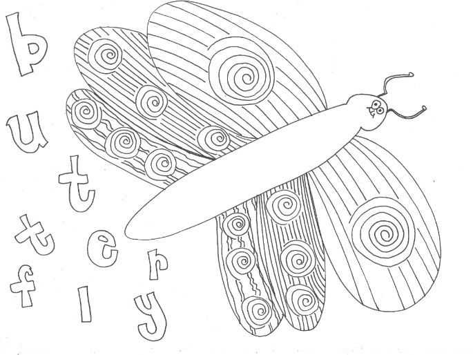 Butterfly (Bugs, Insects, Minibeasts) Colouring Page