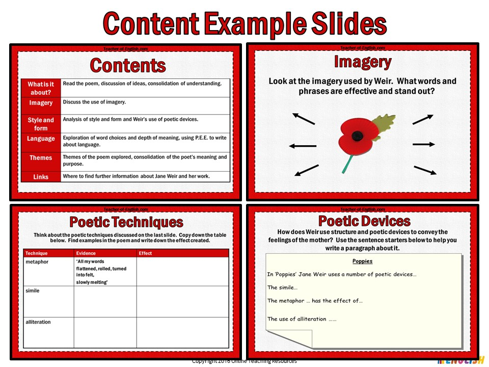 poppies by jane weir  powerpoint and worksheets  by online