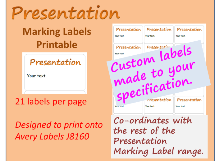 Presentation Adhesive Marking Label CUSTOM I will make with your choice of text J8160