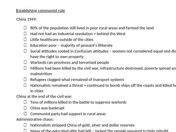 A-level Edexcel History Topic/Theme 1 China Notes - Establishing Communist Rule