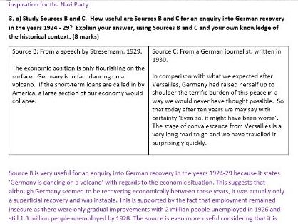 Model answers for full Weimar and Nazi Germany mock paper Edexcel GCSE 9-1