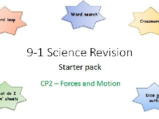 P2 Forces and motion Revision starter pack Science 9-1