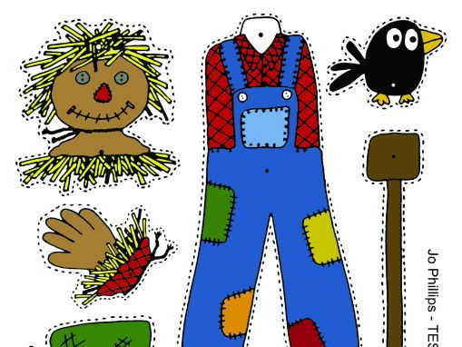 Halloween - Scarecrow Split pin activity. Colour, cut, pin and play