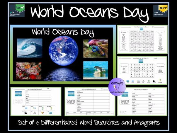 World Oceans Day - Set of 6 Differentiated Word Searches and Anagrams