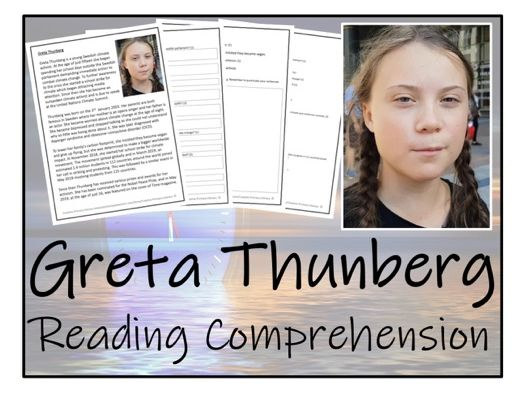 UKS2 Literacy - Greta Thunberg Reading Comprehension Activity