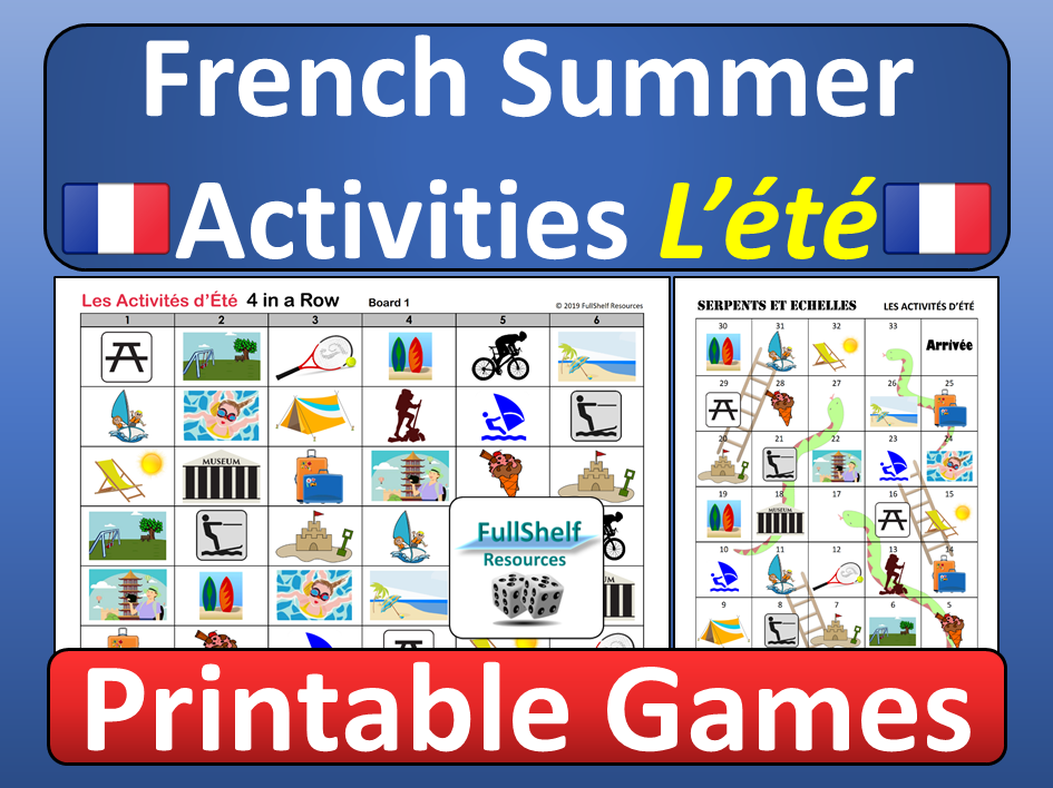 French Summer Activities Games L'ete