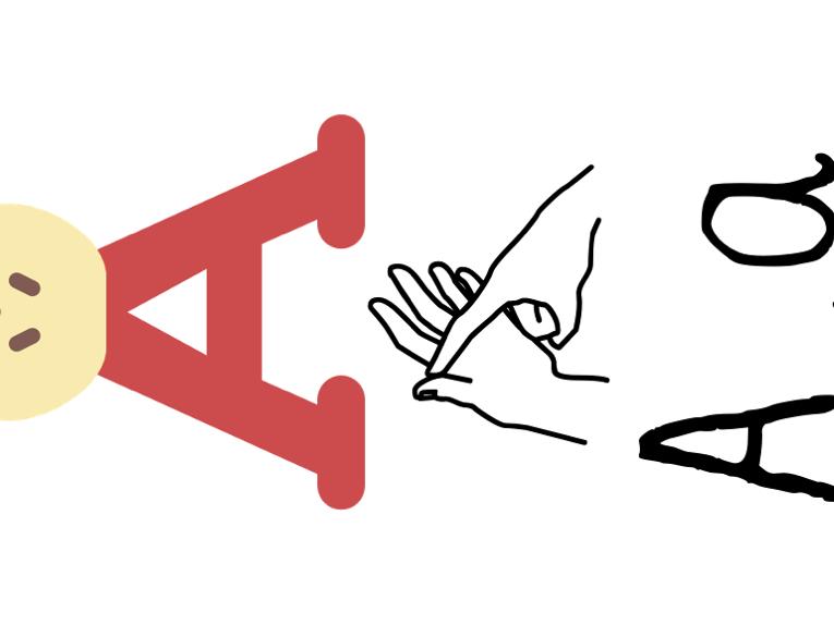 Plain BSL British Sign Language Display/Flashcards with Grapheme image