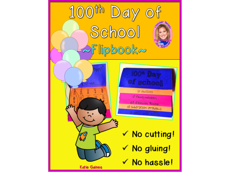 100th Day of School DOUBLE-SIDED Flipbook!