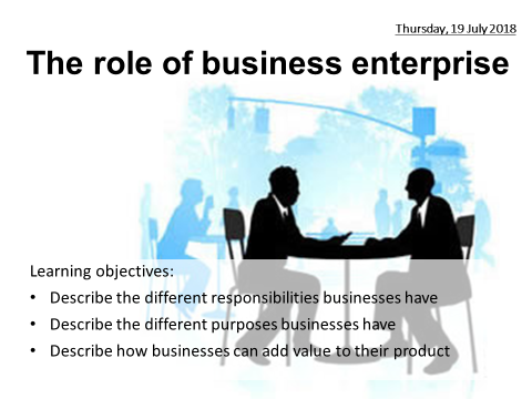 GCSE Business Edexcel 1-9: 1. The role of business enterprise