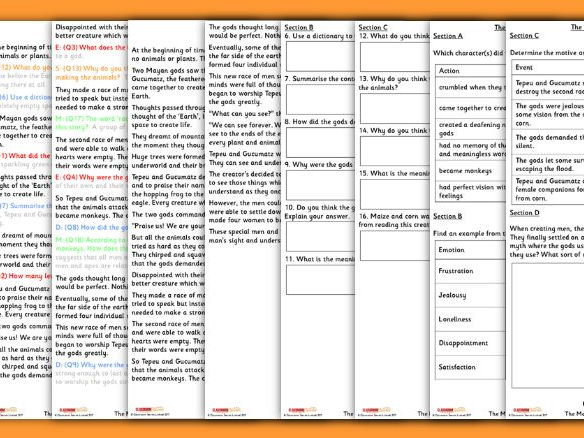 Differentiated Year 5 Mayan Creation Comprehension Whole Class Guided Reading