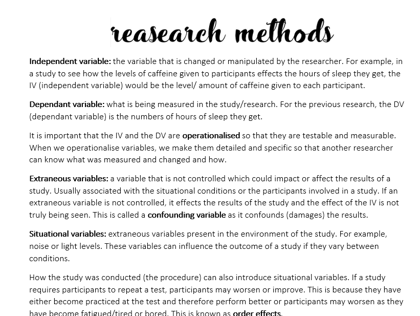 Research methods: GCSE psychology concise notes