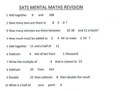 SATS - KS2 Mental Maths -  Revision