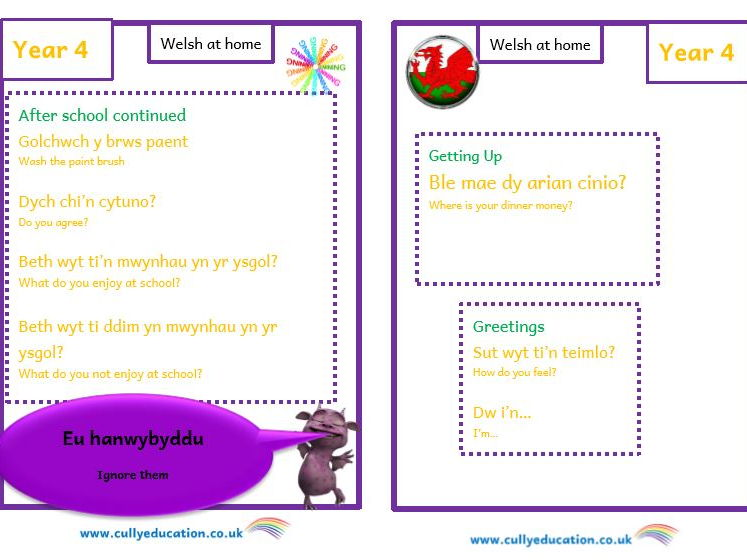 Welsh at home Booklets and Audio files for Parents - Year 4