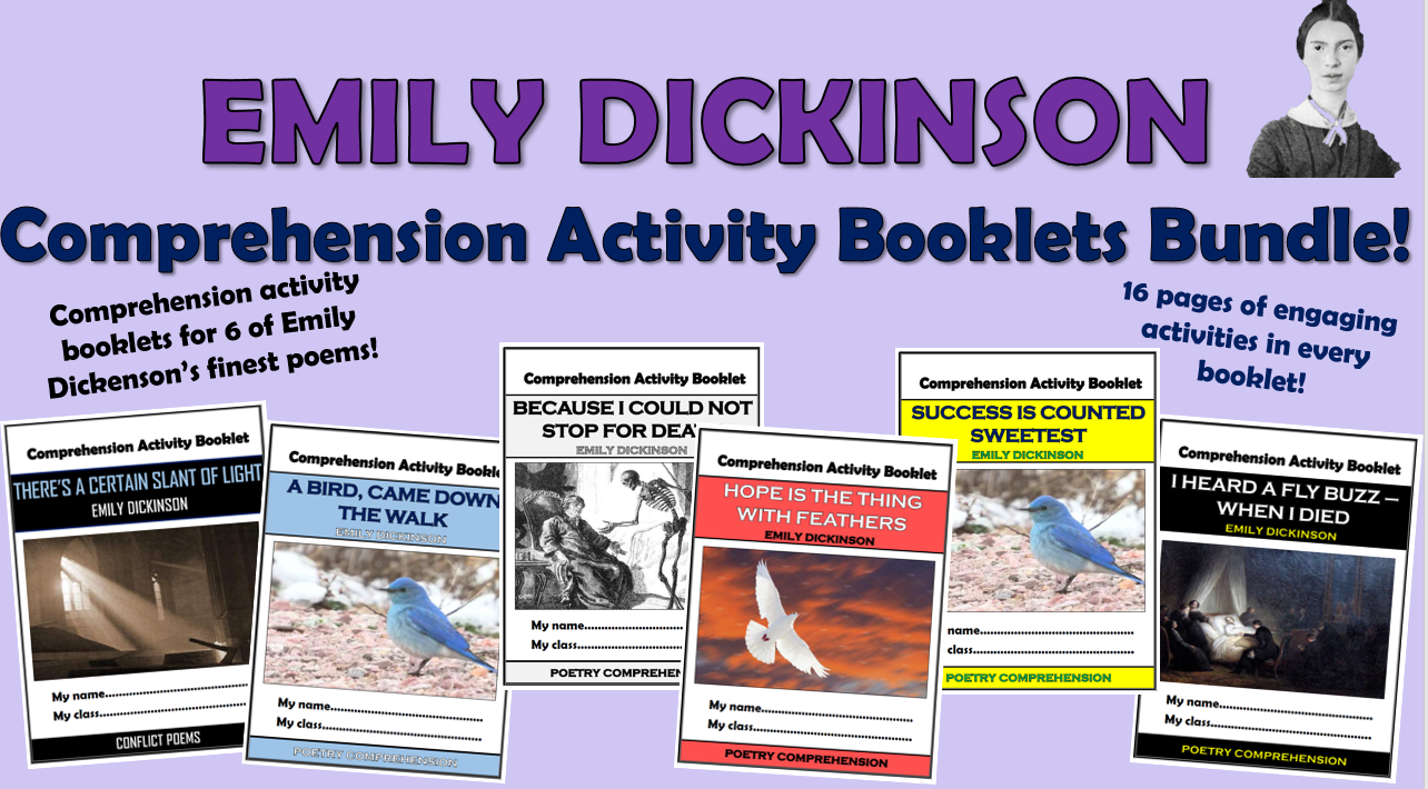 Emily Dickinson Poems - Comprehension Activity Booklets Bundle!