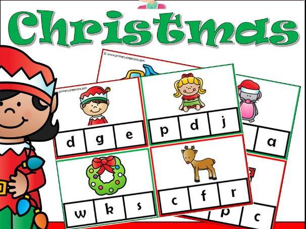Christmas Beginning Letter Sounds Activity PreK (USA Edition)