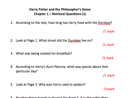 Year 6 - Retrieval Questions - Harry Potter Chapter 1