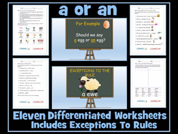 Set of 11 Worksheets on The Articles 'a' or 'an' Including Exception Words
