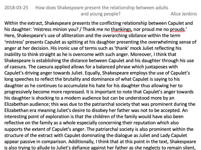 GCSE Romeo and Juliet Level 9 Exemplar Essay on the relationship between adults and young people