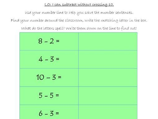 Subtraction game - not crossing 10