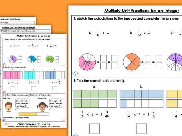 Year 5 Multiply Unit Fractions by an Integer Spring Block 2 Maths Homework Extension