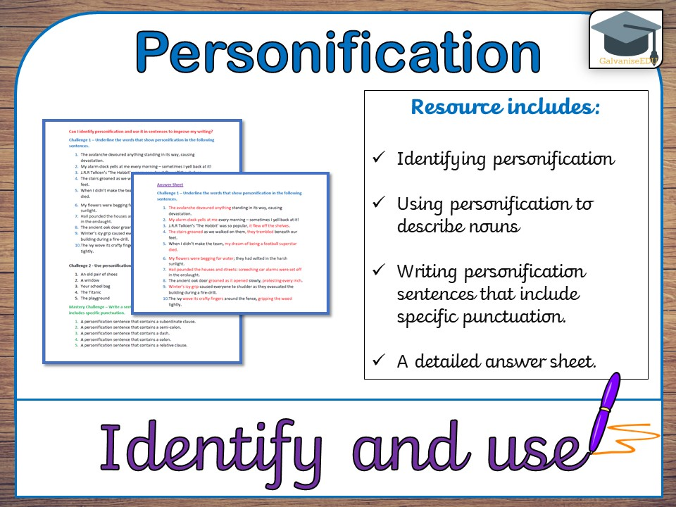 Identify and use personification (differentiated, with answers)