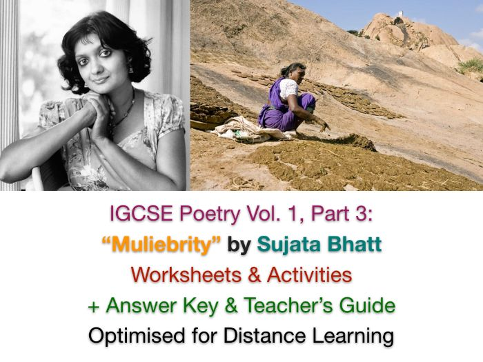 """IGCSE Poetry: """"Muliebrity"""" by Sujata Bhatt (Context, Poem Worksheets + Exam Prep + ANSWERS)"""