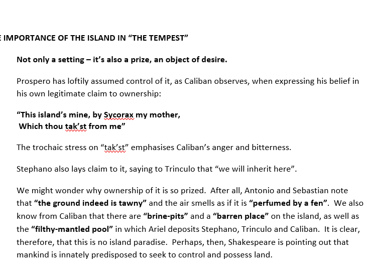The Tempest - The Island - Essay Plan / Revision
