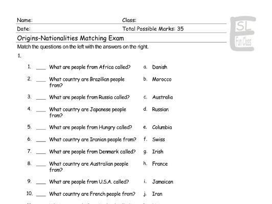 Origins-Nationalities Matching Exam