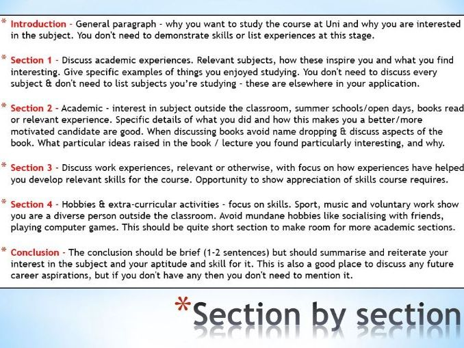 UCAS Personal Statement 3 Structure