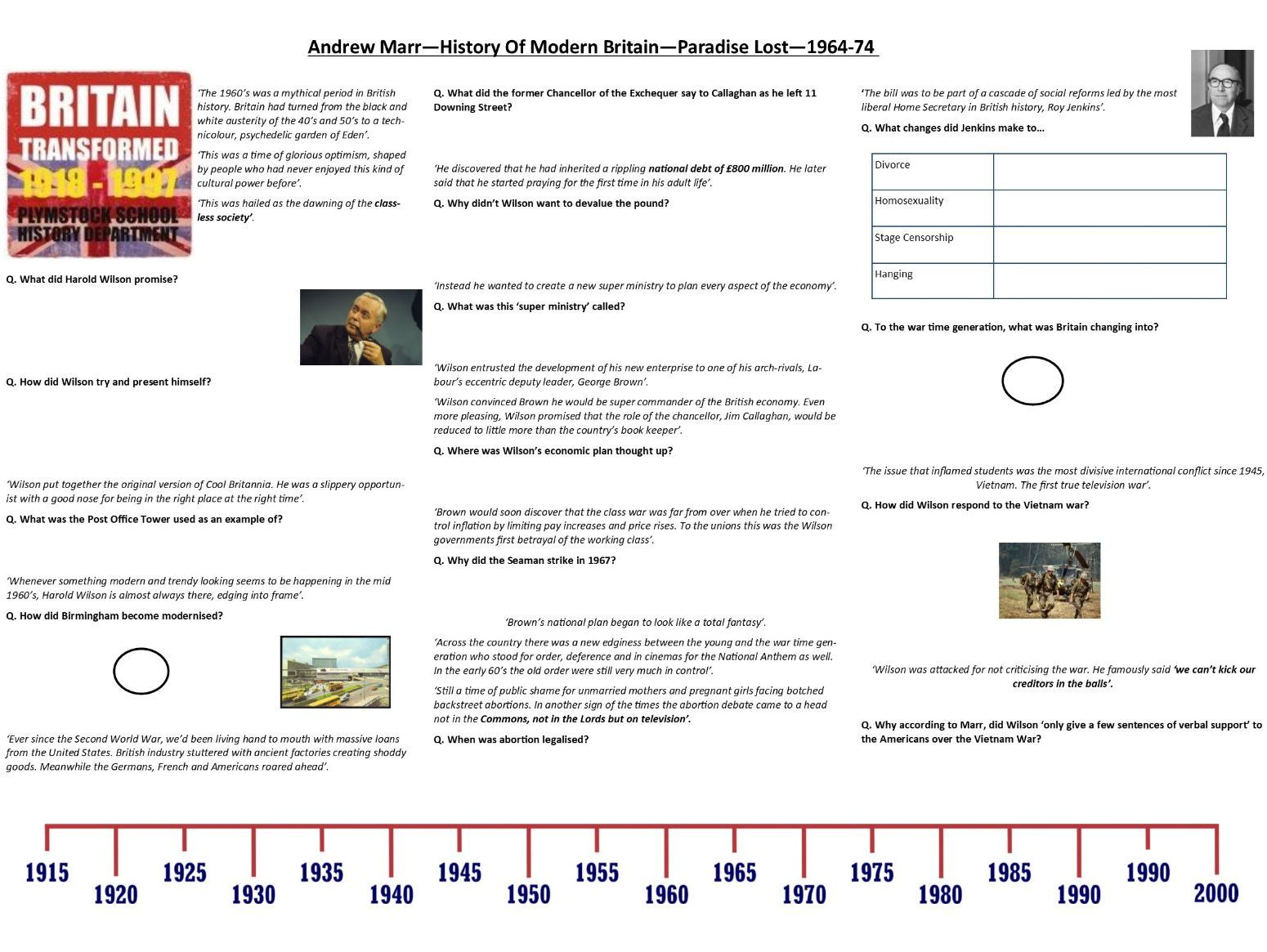 Andrew Marr - History of Modern Britain - Supporting Worksheets for A Level