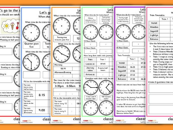 Seaside Reasoning Time Problems for KS1 and KS2