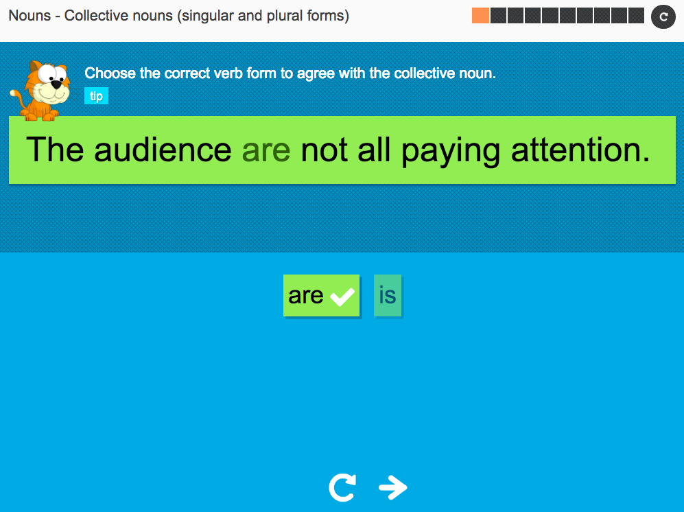 Collective nouns (singular and plural forms) - Interactive Activity - KS3 Spag