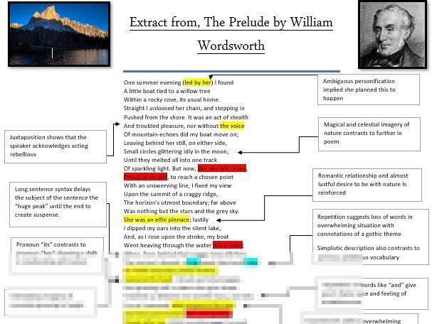 LEVEL 9 The Prelude by William Wordsworth annotations, analysis and context sheet