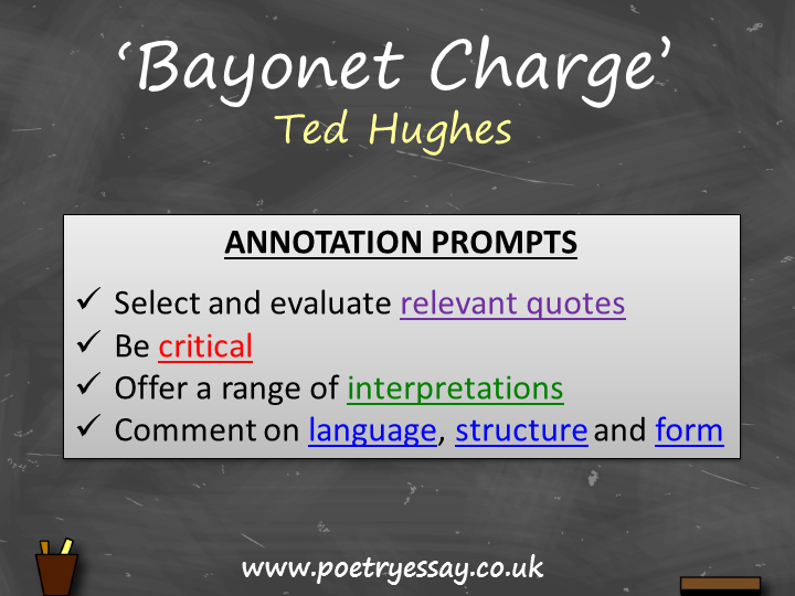 Ted Hughes – 'Bayonet Charge' – Annotation / Planning Table / Questions / Booklet