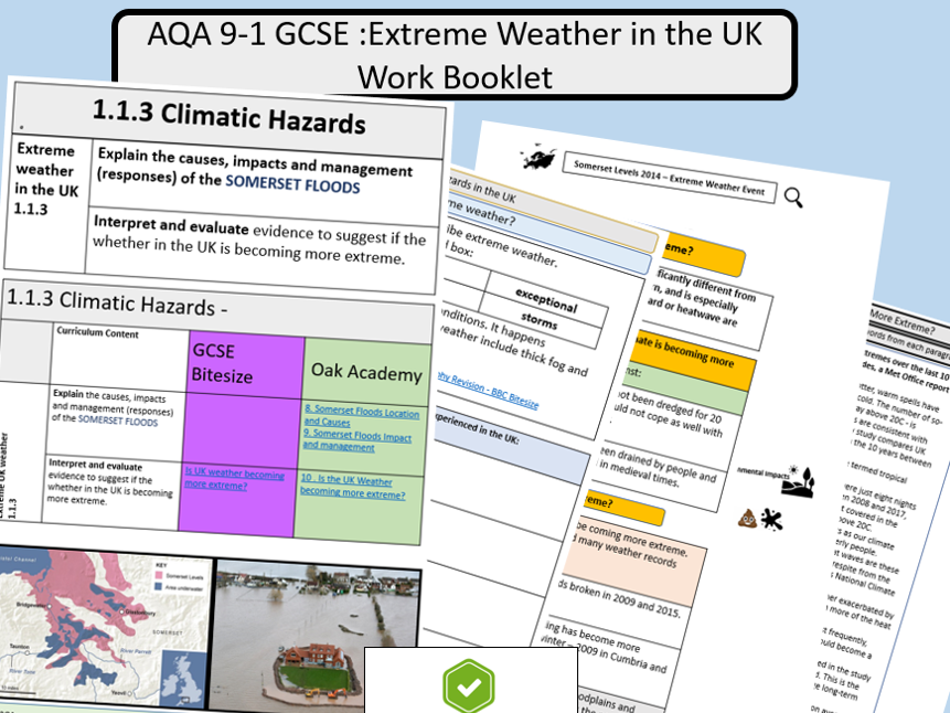 AQA Extreme Weather Hazards in the UK Revision Booklet - Suitable for Remote Learning.