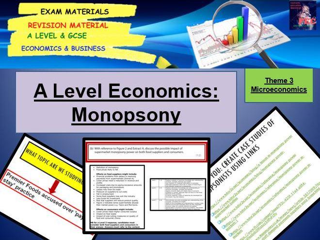 Monopsony Lesson and Activities: A Level Economics
