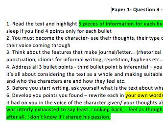 Cambridge 2020 IGCSE 0500 English, Paper 1,Question 3, 7 text types,