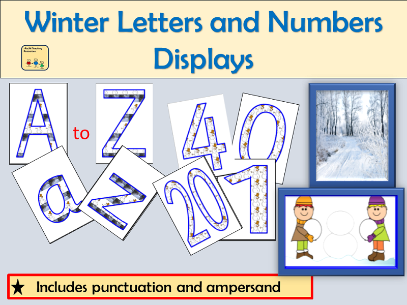 Winter-Themed Letters Numbers Punctuation Symbols, Maths Signs and Winter Photos Displays