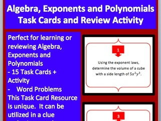Algebra, Exponents and Polynomials - Task Cards and UNIQUE Activity