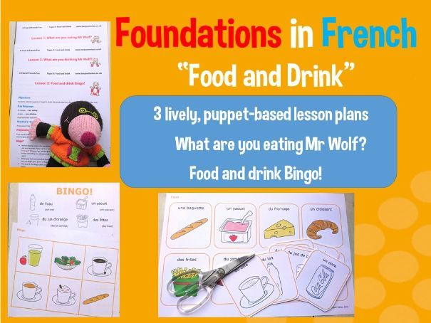 French food and drink - French basics - 3 lesson plan bundle